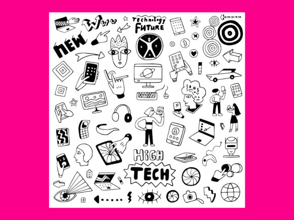 Download Free Information Technology Doodle Set Graphic By Anrasoft Creative for Cricut Explore, Silhouette and other cutting machines.