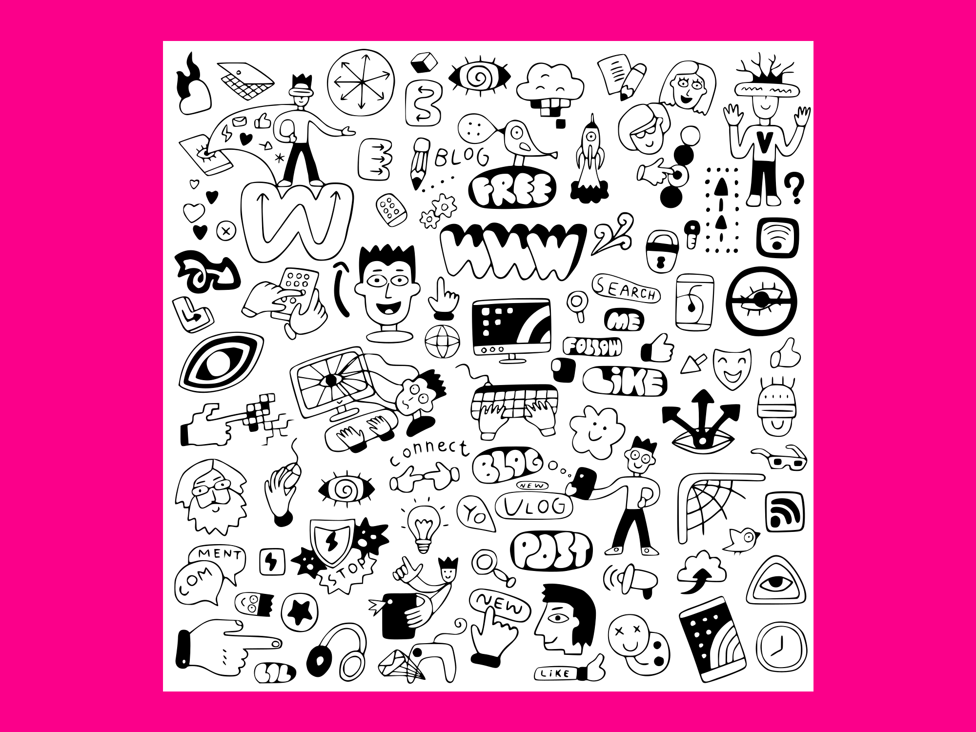 Download Free Internet Technology Doodle 1 Graphic By Anrasoft Creative Fabrica for Cricut Explore, Silhouette and other cutting machines.