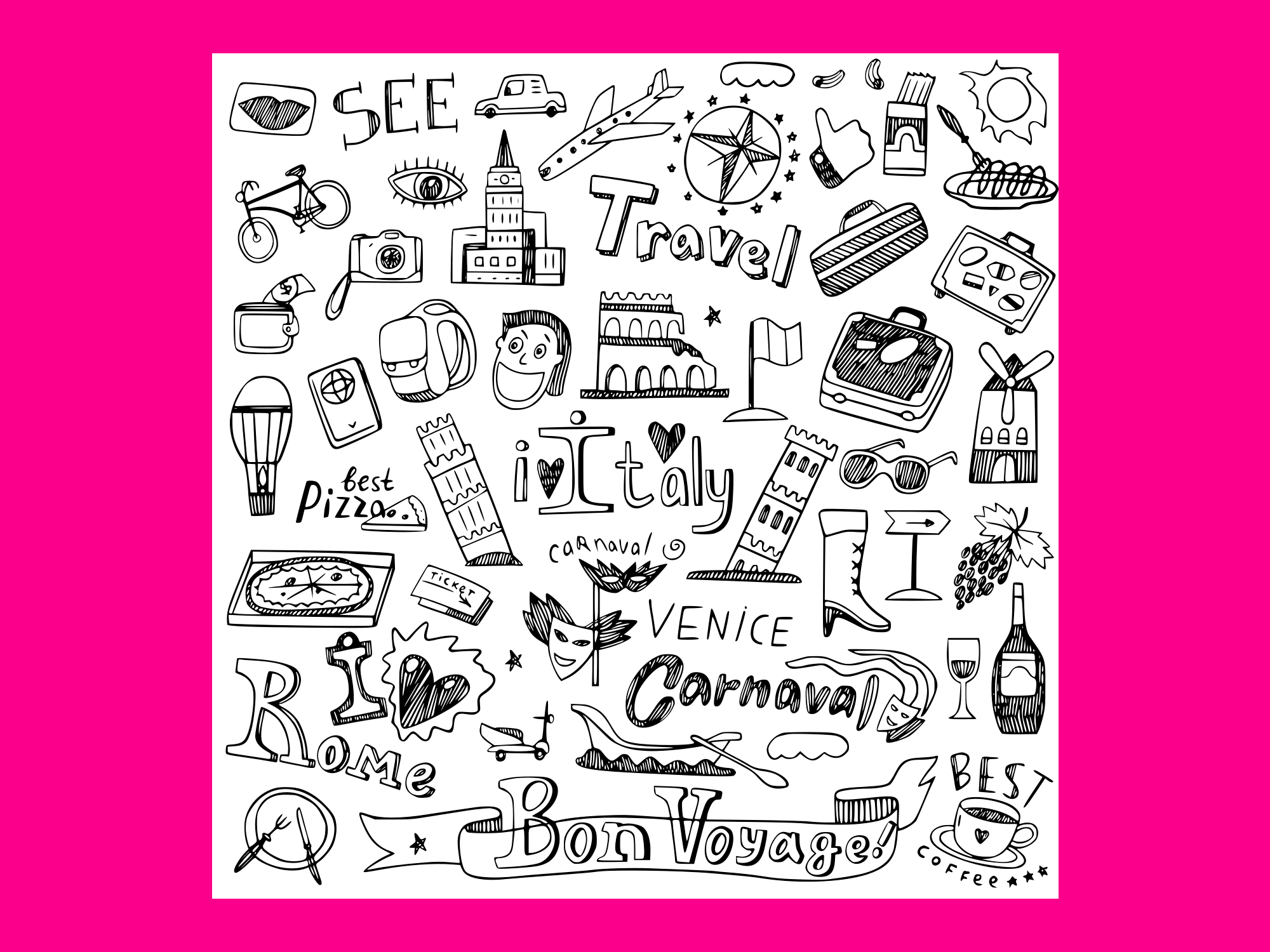 Download Free Italy Travel Doodles Vector Grafico Por Anrasoft Creative Fabrica for Cricut Explore, Silhouette and other cutting machines.
