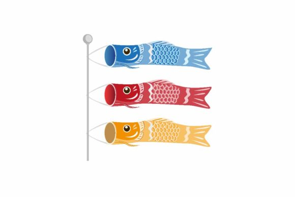 Download Free Japanese Children S Day Koinobori Fish Graphic By Aryo Hadi for Cricut Explore, Silhouette and other cutting machines.