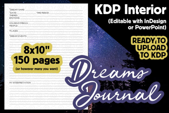 Download Free Kdp Interior Dream Journal Graphic By Laura Burke Creative for Cricut Explore, Silhouette and other cutting machines.