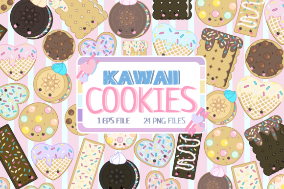 Download Free Kawaii Cookies Clipart Set Graphic By Jm Graphics Creative Fabrica for Cricut Explore, Silhouette and other cutting machines.