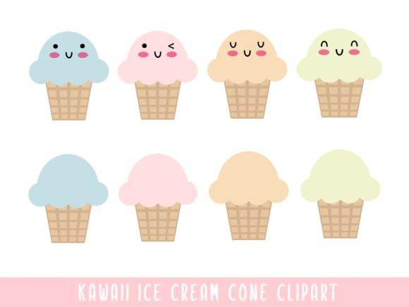 Kawaii Ice Cream Cone ClipArt Graphic Illustrations By Happy Kiddos