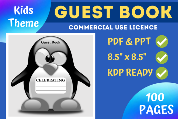 Print on Demand: Kids Penguin Guest Book | KDP Interior Graphic KDP Interiors By Mastery Templates