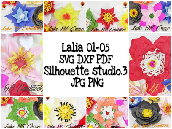 Download Free 08 Spring Paper Flowers Templates Graphic By Lasquare Info for Cricut Explore, Silhouette and other cutting machines.