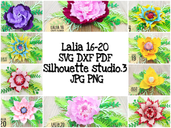 Download Free Lalia 16 20 Paper Flower Template Graphic By Lasquare Info for Cricut Explore, Silhouette and other cutting machines.