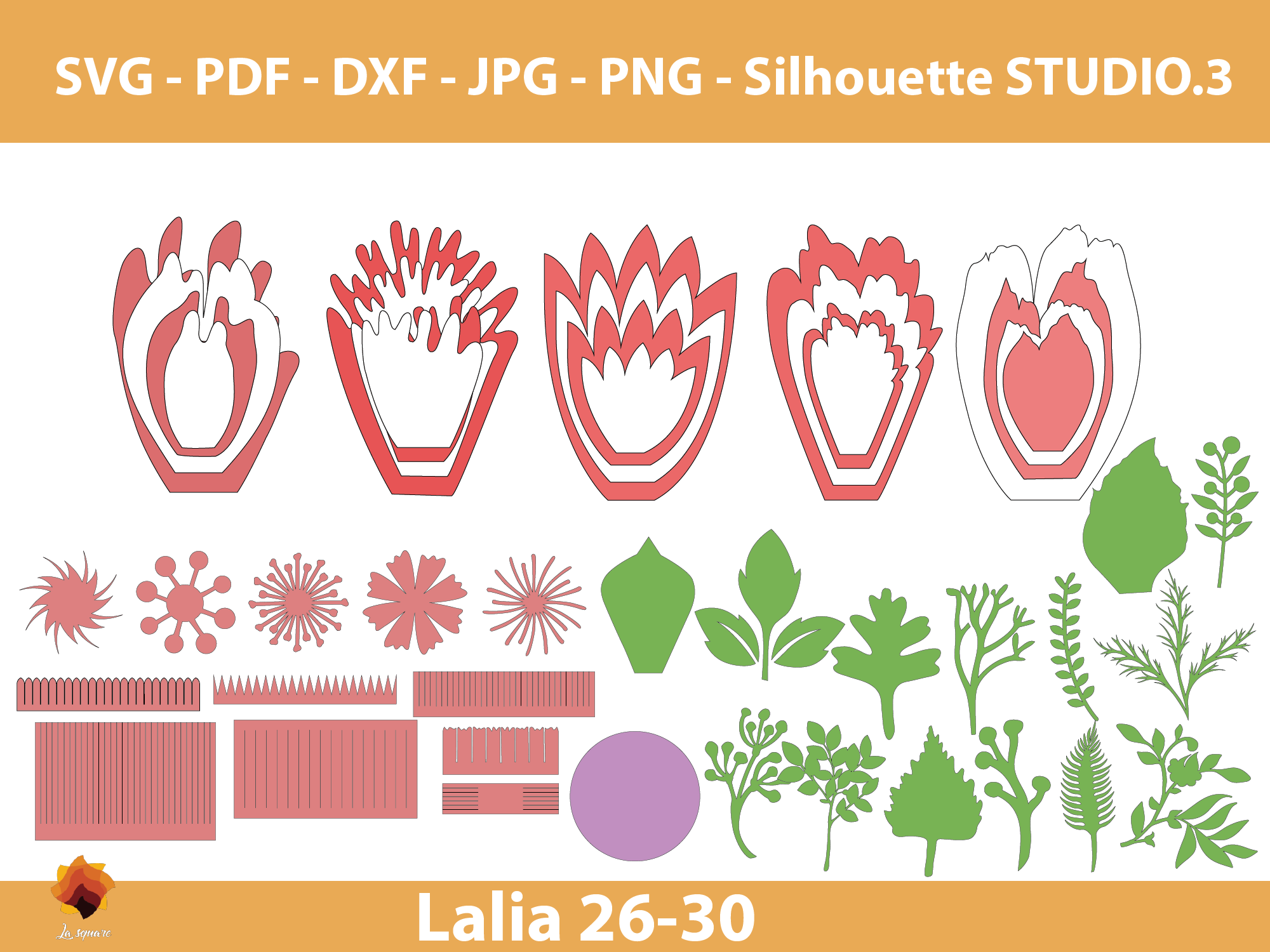 Download Free Lalia 26 30 Giant Paper Flowers Grafico Por Lasquare Info for Cricut Explore, Silhouette and other cutting machines.