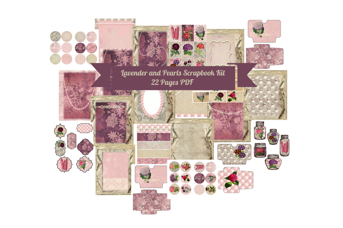 Download Free Lavender Pearls Journal Scrapbook Kit Graphic By Scrapbook Attic for Cricut Explore, Silhouette and other cutting machines.