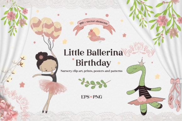 Download Free Little Ballerina Birthday Graphic By Komanna Art Creative Fabrica for Cricut Explore, Silhouette and other cutting machines.