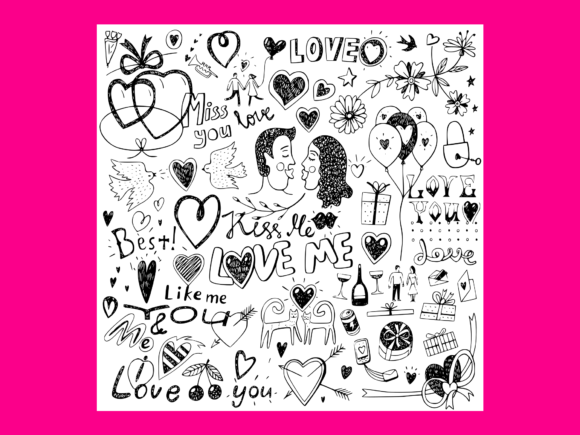 Download Free Love Doodles Set 3 Graphic By Anrasoft Creative Fabrica for Cricut Explore, Silhouette and other cutting machines.