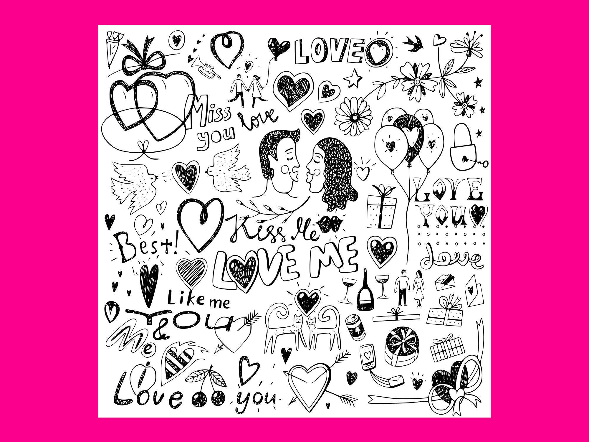 Download Free Love Doodles Set Vector Graphic By Anrasoft Creative Fabrica for Cricut Explore, Silhouette and other cutting machines.