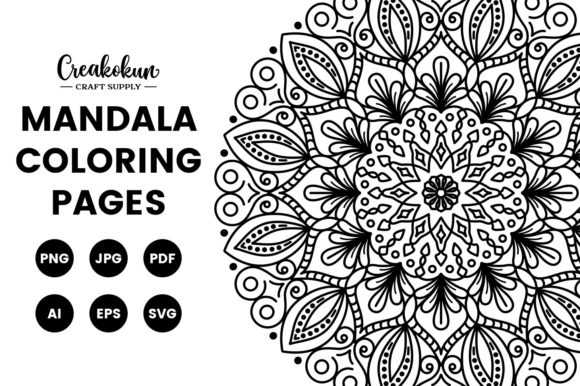 Print on Demand: Mandala Illustration - Coloring Pages Graphic Coloring Pages & Books Adults By creakokunstudio