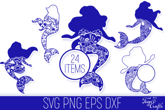 Print on Demand: Mermaid Mandala Files Pack Graphic Crafts By Anastasia Feya