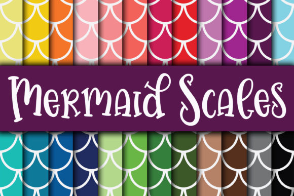 Print on Demand: Mermaid Scales Digital Paper Designs Graphic Crafts By oldmarketdesigns