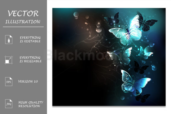 Mint Night Butterflies Graphic Illustrations By Blackmoon9