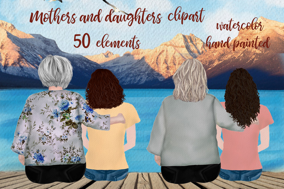 Download Free Mother And Daughter Granny Clipart Graphic By Lecoqdesign Creative Fabrica for Cricut Explore, Silhouette and other cutting machines.