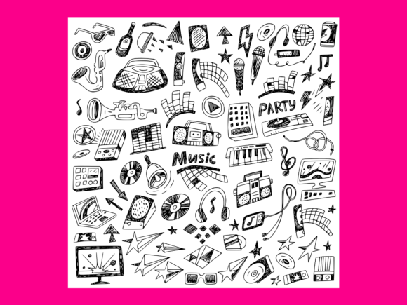 Download Free Music Doodles 8 Graphic By Anrasoft Creative Fabrica for Cricut Explore, Silhouette and other cutting machines.