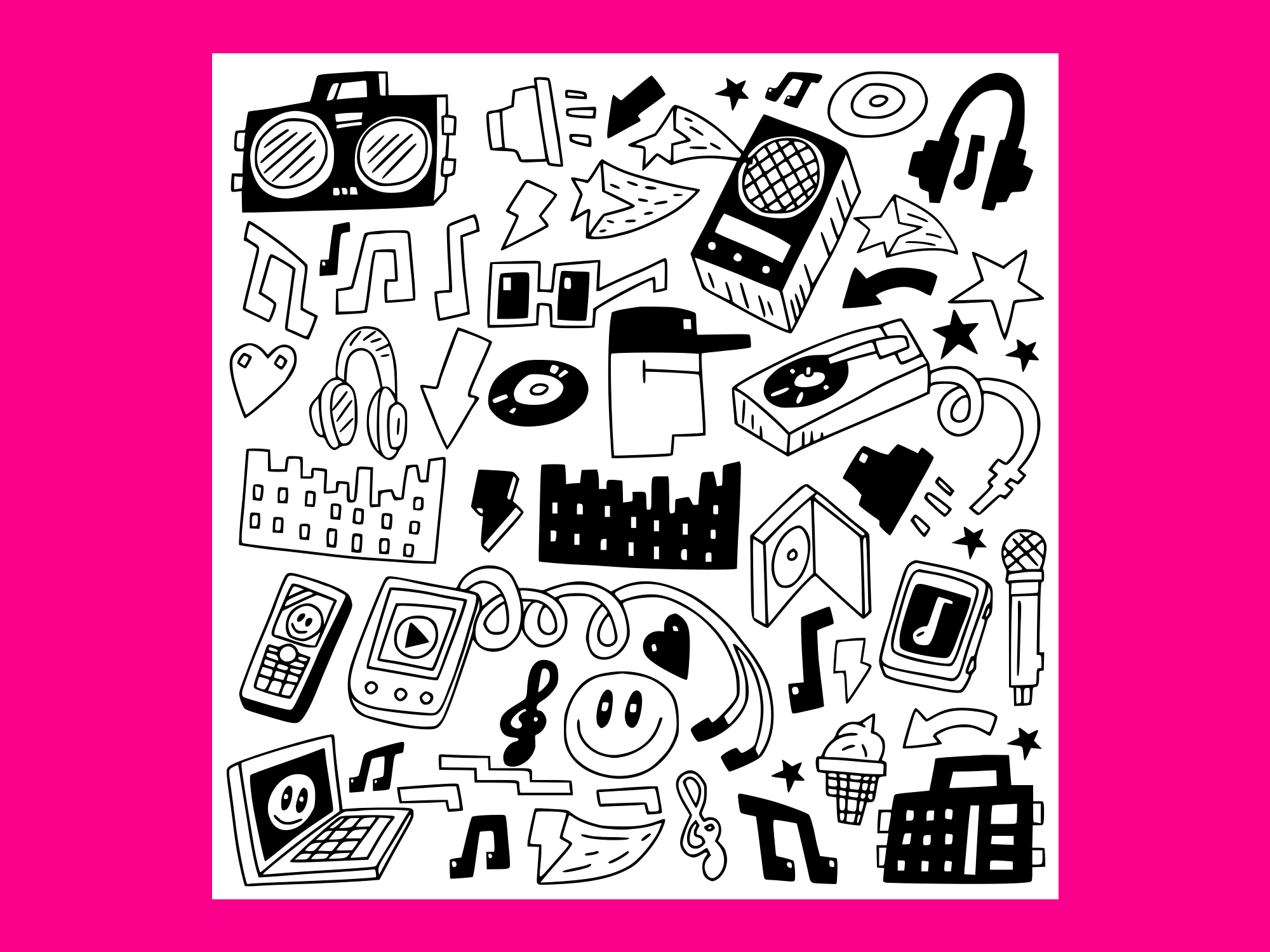 Download Free Music Party Doodles 4 Grafik Von Anrasoft Creative Fabrica for Cricut Explore, Silhouette and other cutting machines.