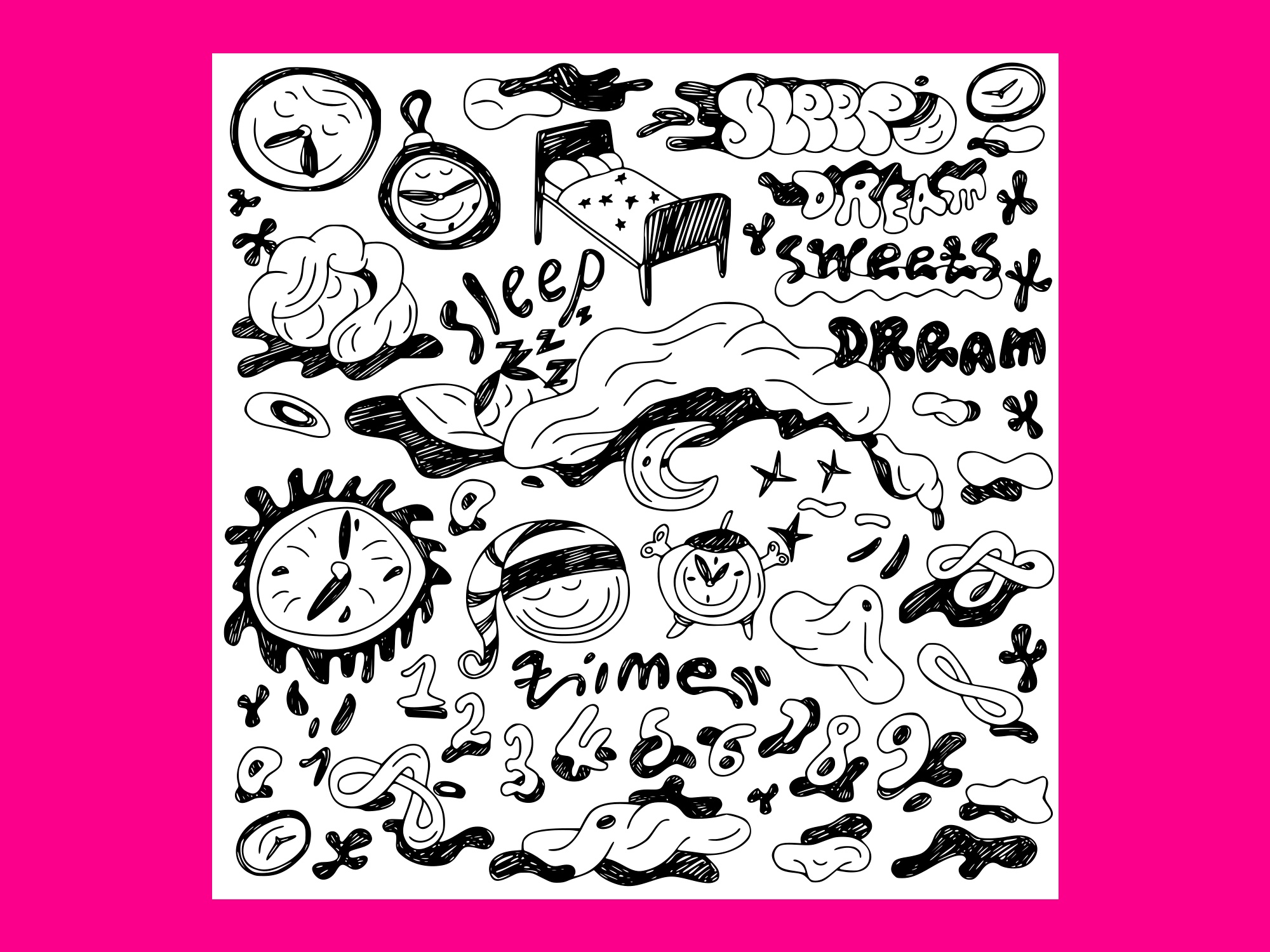 Download Free Nights Sleep Doodles Set Vector Graphic By Anrasoft Creative for Cricut Explore, Silhouette and other cutting machines.