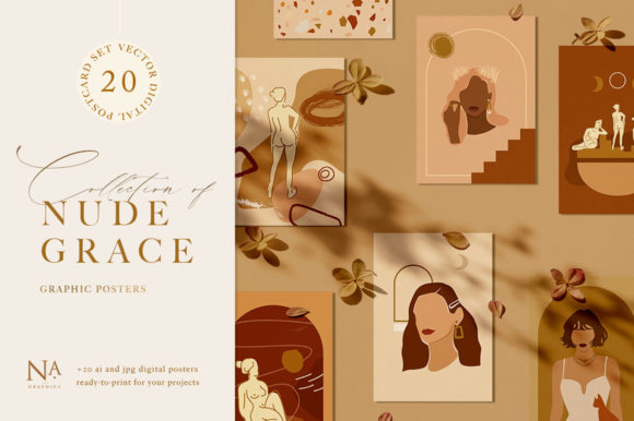 Download Free Nude Grace Modern Vector Set Graphic By Nassyart Creative Fabrica for Cricut Explore, Silhouette and other cutting machines.