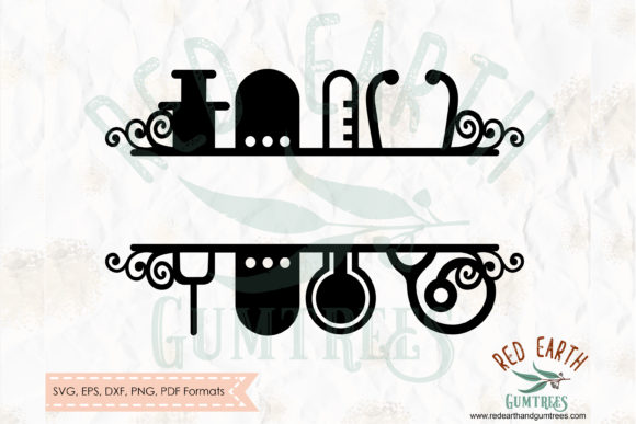 Nursing and Medical Split Monogram Frame Gráfico Crafts Por redearth and gumtrees