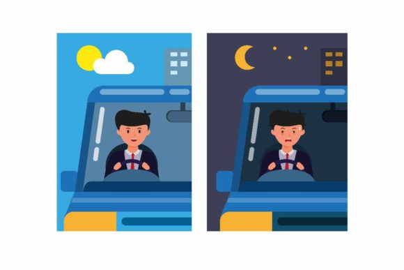 Print on Demand: Office Man Driving Car Day and Night Graphic Illustrations By aryo.hadi