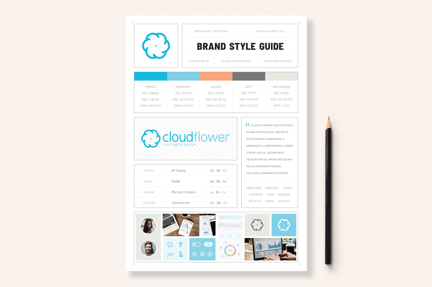 Download Free One Page Branding Style Guide Graphic By Sargatal Creative Fabrica for Cricut Explore, Silhouette and other cutting machines.
