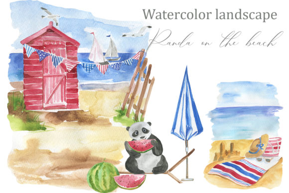 Print on Demand: Panda on the Beach Graphic Illustrations By laffresco04