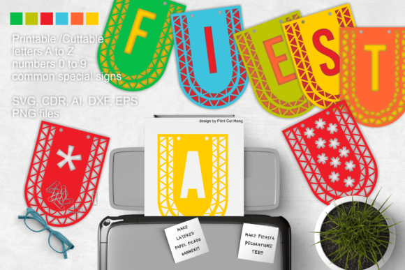 Download Free Papel Picado Banner Letters Graphic By Print Cut Hang Creative for Cricut Explore, Silhouette and other cutting machines.