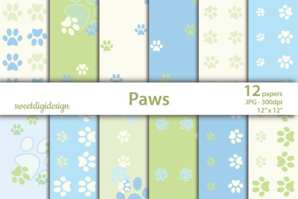 Print on Demand: Pastel Blue and Green Paws Digital Paper Graphic Patterns By sweetdigidesign