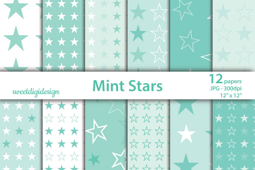 Download Free Pastel Green Stars Digital Backgrounds Graphic By for Cricut Explore, Silhouette and other cutting machines.