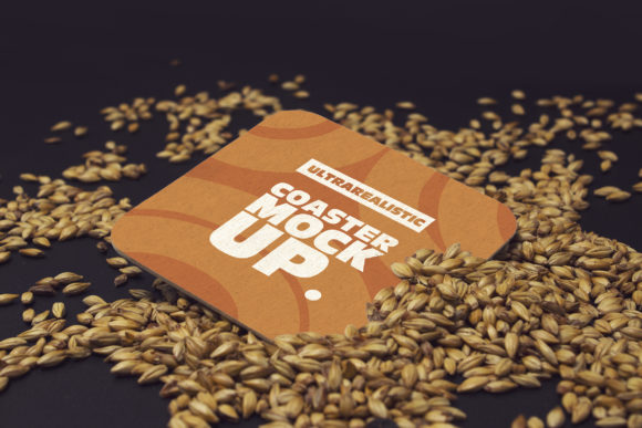Print on Demand: Perspective Square Coaster Malt Mockup Graphic Product Mockups By SmartDesigns