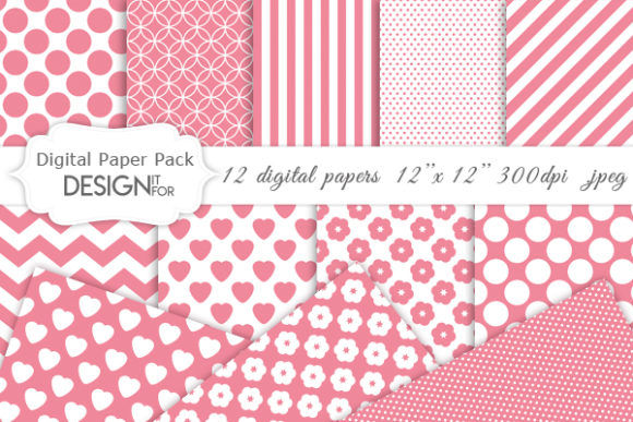 Download Free Pink And White Basic Digital Paper Pack Graphic By Designitfor for Cricut Explore, Silhouette and other cutting machines.