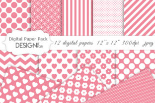 Print on Demand: Pink and White Basic Digital Paper Pack Graphic Textures By DesignItfor
