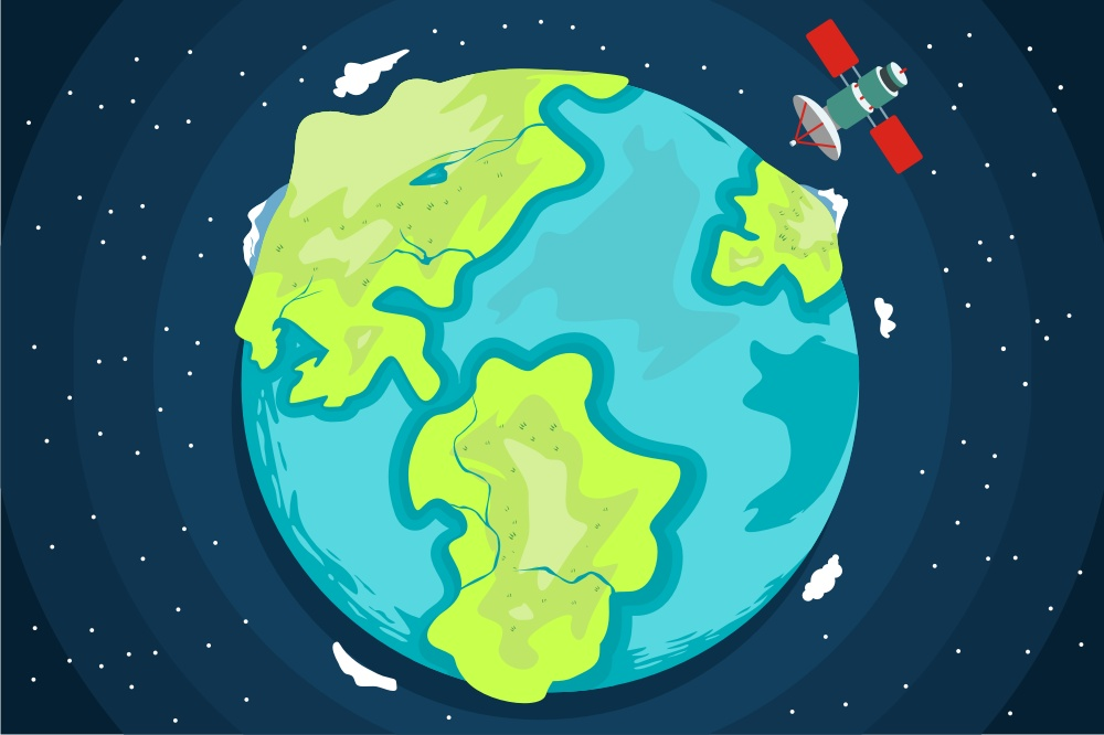 Download Free Planet Earth From Space With Satellite Graphic By Onoborgol SVG Cut Files