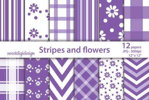 Print on Demand: Purple Mixed Digital Paper. Graphic Patterns By sweetdigidesign