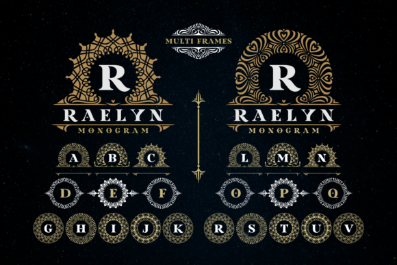 Print on Demand: Raelyn Monogram Display Font By Situjuh