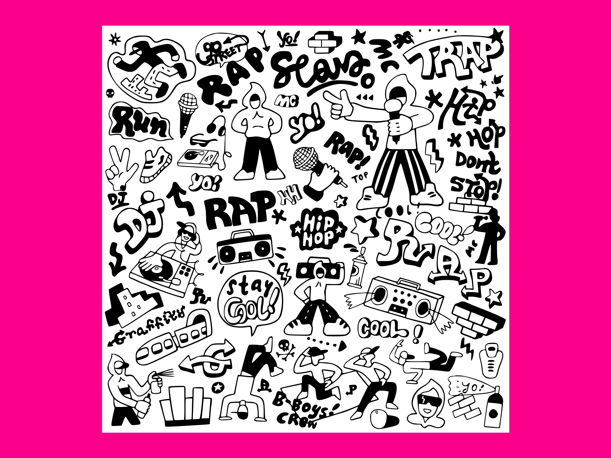 Download Free Rap Music Doodle Set 3 Grafico Por Anrasoft Creative Fabrica for Cricut Explore, Silhouette and other cutting machines.