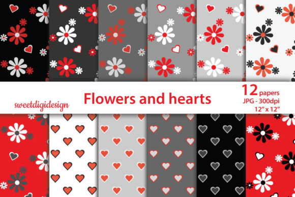 Print on Demand: Red and Gray Flowers and Hearts Pattern Graphic Patterns By sweetdigidesign