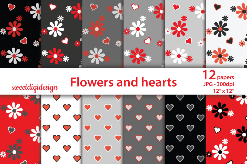 Download Free Red And Gray Flowers And Hearts Pattern Graphic By for Cricut Explore, Silhouette and other cutting machines.