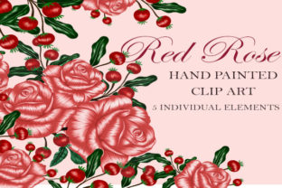 Print on Demand: Rose and Red Lace Hand Painted Clip Art Graphic Objects By Suda Digital Art
