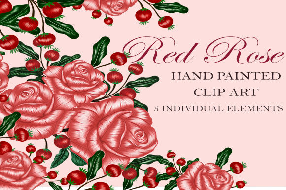Download Free Rose And Red Lace Hand Painted Clip Art Graphic By Suda Digital for Cricut Explore, Silhouette and other cutting machines.
