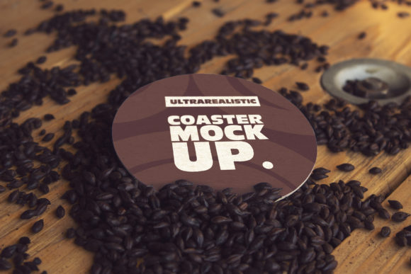 Round Coaster Black Malt Mockup Graphic Product Mockups By SmartDesigns
