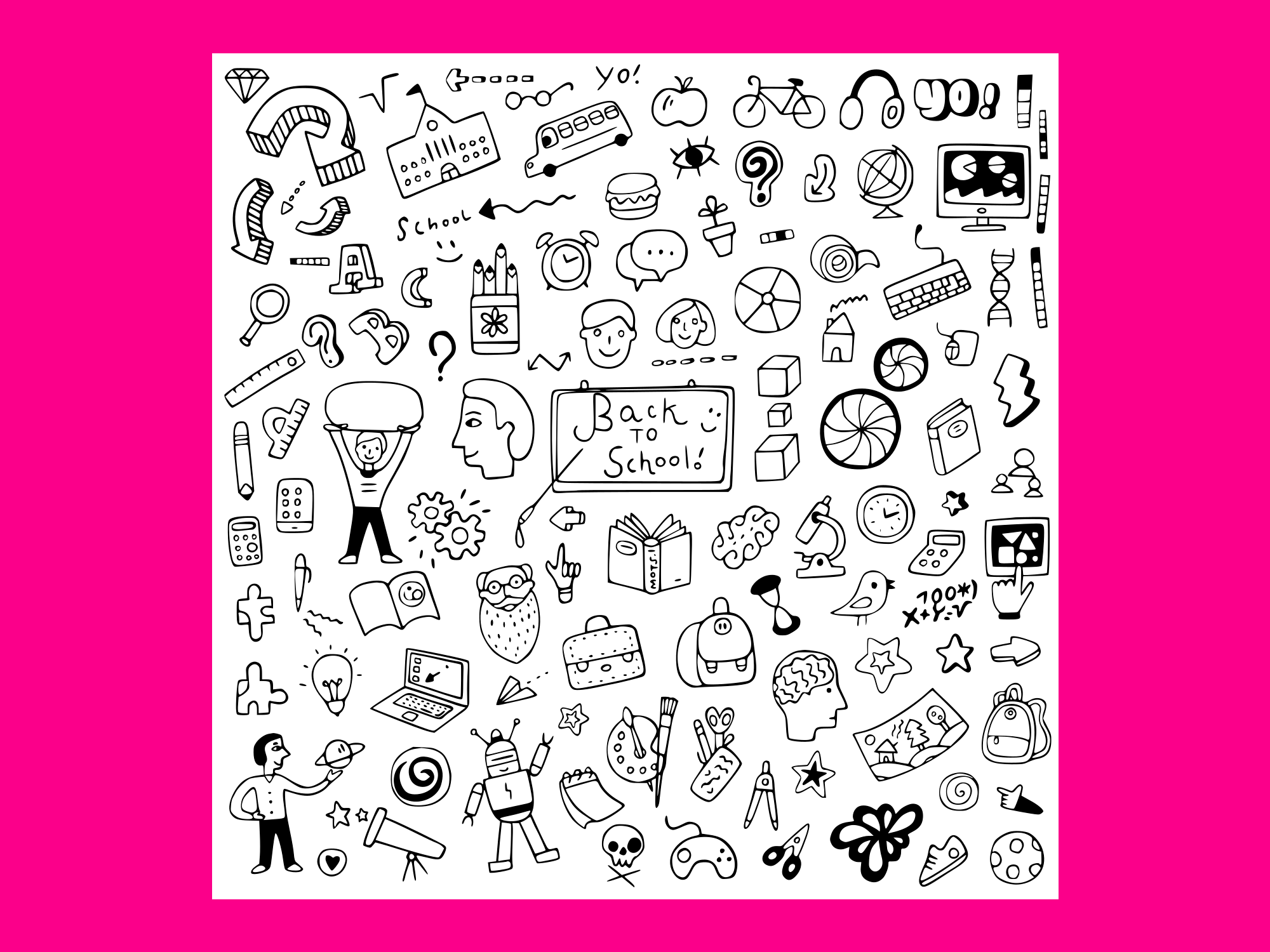 Download Free School Education Doodle Set 8 Graphic By Anrasoft Creative Fabrica for Cricut Explore, Silhouette and other cutting machines.