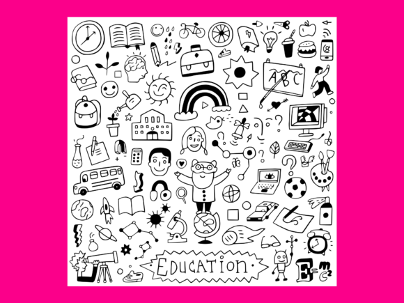 Download Free School Education Doodle Set 7 Graphic By Anrasoft Creative Fabrica for Cricut Explore, Silhouette and other cutting machines.