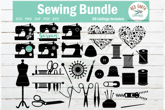 Sewing Bundle, Sewing Machine   Graphic Crafts By redearth and gumtrees