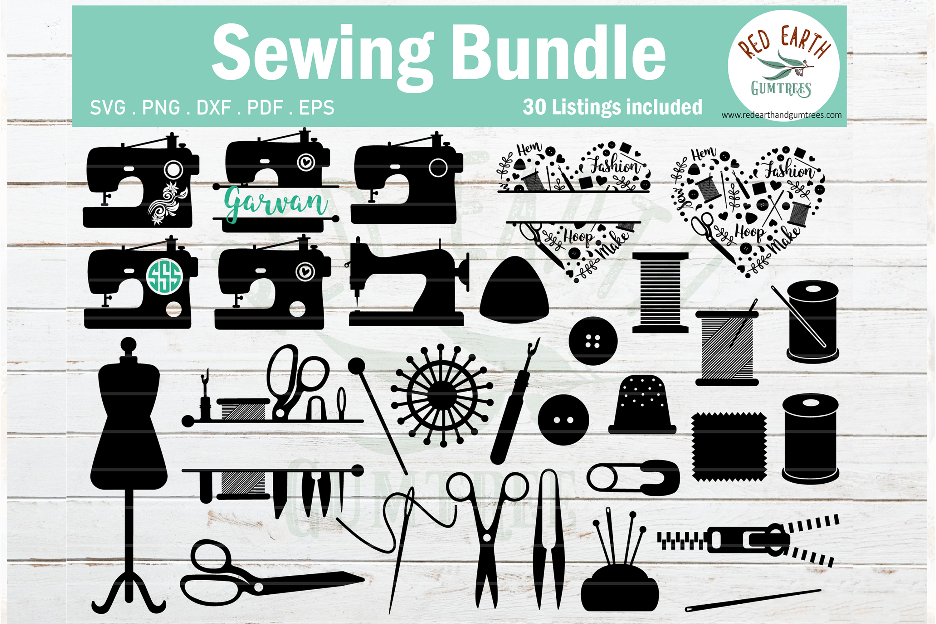 Download Free Sewing Bundle Sewing Machine Graphic By Redearth And Gumtrees for Cricut Explore, Silhouette and other cutting machines.