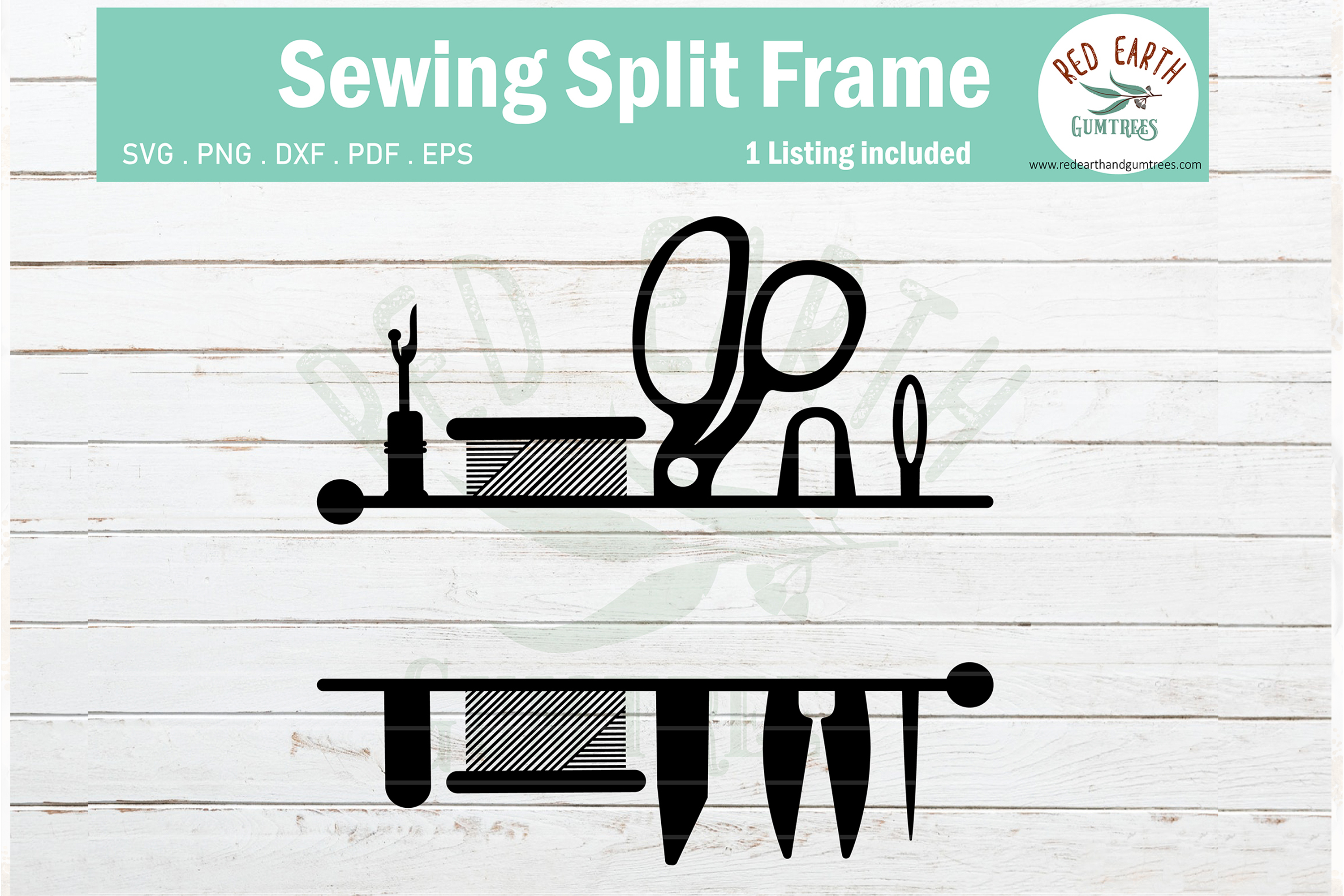 Download Free Sewing Split Monogram Frame Svg Graphic By Redearth And Gumtrees for Cricut Explore, Silhouette and other cutting machines.