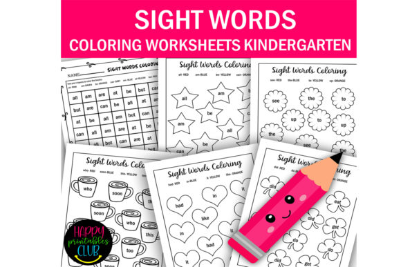 Download Free Sight Words Coloring Worksheets Kinder Graphic By Happy for Cricut Explore, Silhouette and other cutting machines.