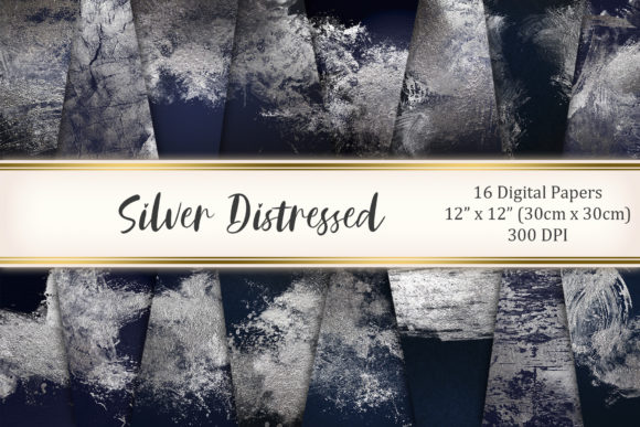 Silver Distressed Graphic Textures By Tara Artisan